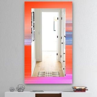 Designart 'Pink Spheres 13' Mid-Century Mirror - Frameless Wall Mirror - Pink