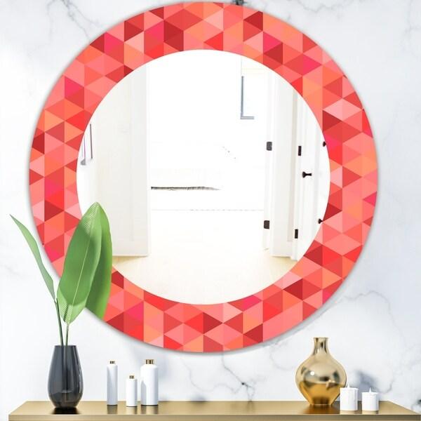 Designart 'Pink Spheres 14' Mid-Century Mirror - Frameless Oval or Round Wall Mirror - Pink