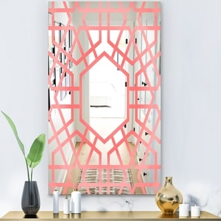 Designart 'Hexed' Modern Mirror - Contemporary Large Wall Mirror - Pink
