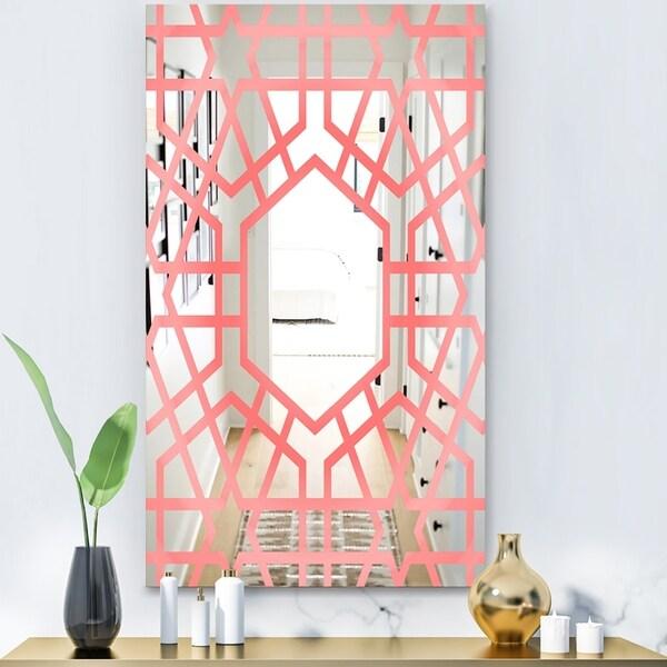 Designart 'Hexed' Modern Mirror - Contemporary Large Wall Mirror - Pink