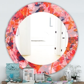 Designart 'Pink Spheres 12' Traditional Mirror - Frameless Oval or Round Wall Mirror - Red