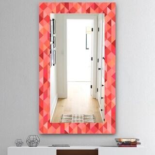 Designart 'Pink Spheres 14' Mid-Century Mirror - Frameless Wall Mirror - Pink