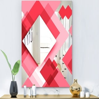 Designart 'Triangular Red 2' Modern Mirror - Contemporary Large Wall Mirror