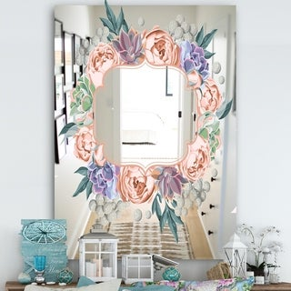 Designart 'Garland Sweet 9' Farmhouse Mirror - Large Mirror - Pink