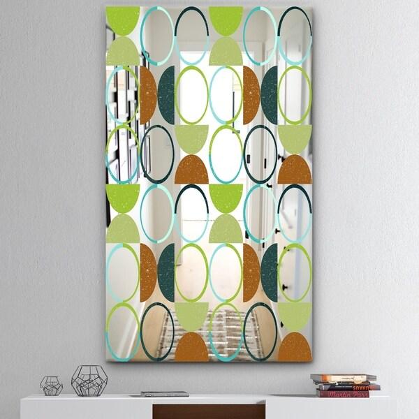 Designart 'Circular Rhythm 3' Mid-Century Mirror - Modern Print on Mirror - Green