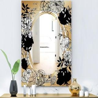 Designart 'Gold Botanical Obsidian 5' Glam Mirror - Accent Mirror - Black