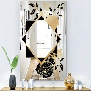 Designart 'Gold Botanical Obsidian 4' Glam Mirror - Accent Mirror - Gold