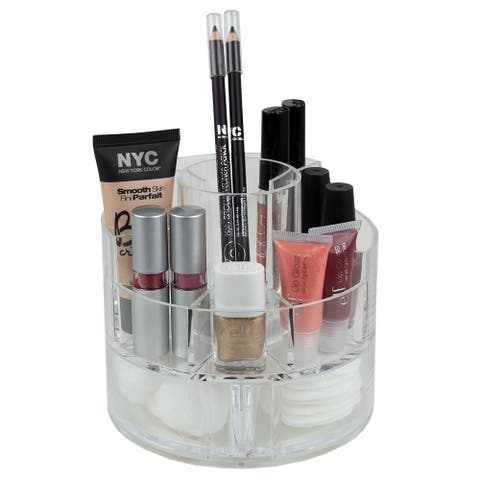 Round 5 Compartment Plastic Compact Cosmetic Organizer, Clear