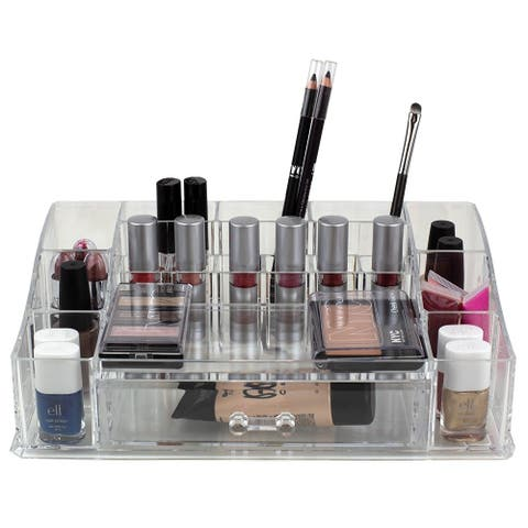 Deluxe Large Cosmetic Organizer with Easy Open Drawer, Clear