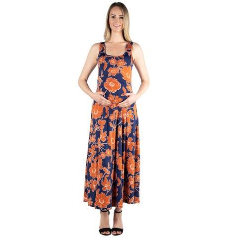 24seven Comfort Apparel Simple A Line Maternity Tank Maxi Dress