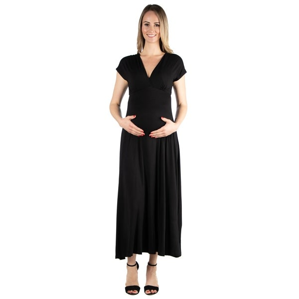 2dbc0937b0805 Shop 24seven Comfort Apparel Empire Waist V Neck Maternity Maxi ...