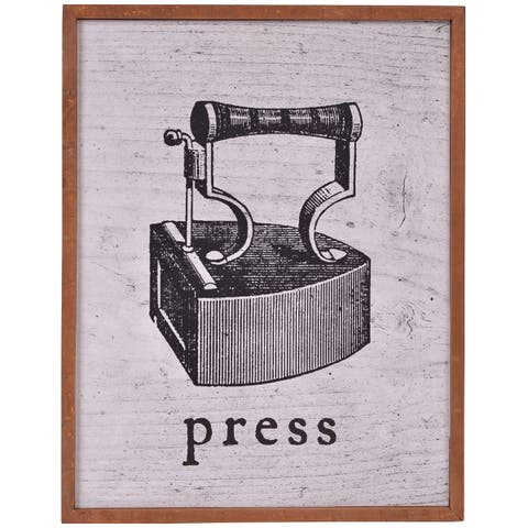 Wood Framed Press Laundry Room Wall Art