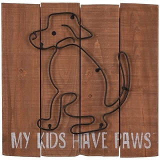 Wood Plank With Dog Wall Decor