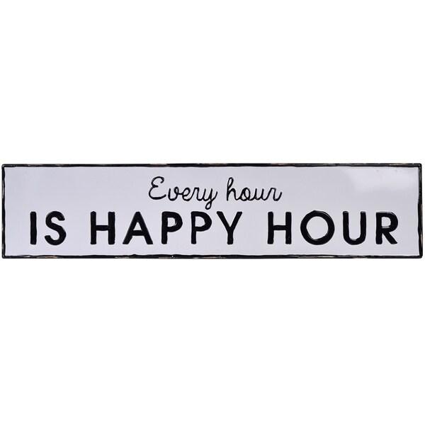 Metal Embossed Happy Hour Sign