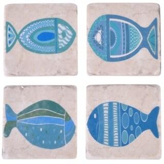 Square Fish Resin Coaster Set - blue and white