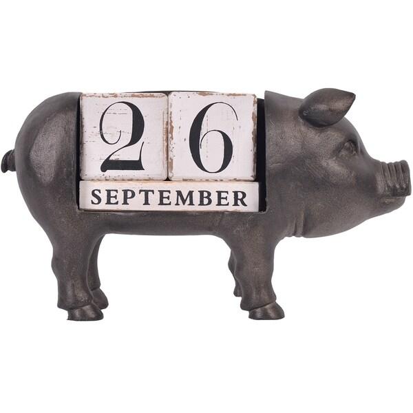 Pig Calendar Figurine