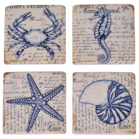 Square Seashore Resin Coaster Set