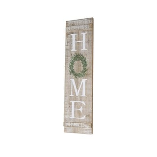 Home Wreath Vertical Wood Sign