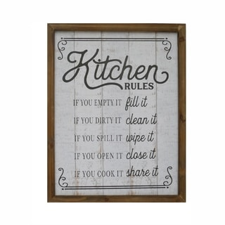 Kitchen Rules Wood Plank Style Wall Decor