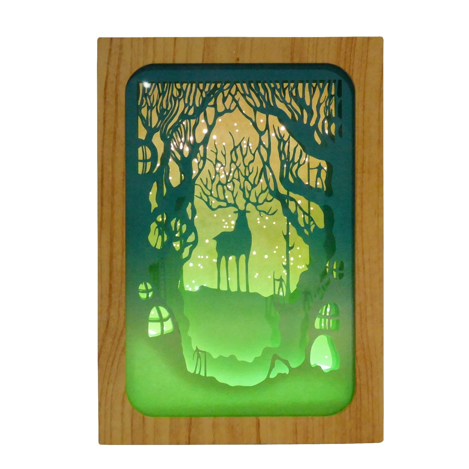 Deer In The Forest Paper Cut Light Box Overstock 28004431