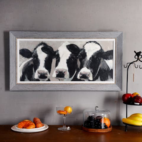 Painted Cows Wood Textured Painting Print Art