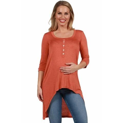 24seven Comfort Apparel Long Sleeve High Low Maternity Henley Top