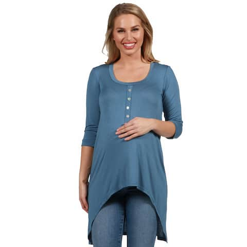 24seven Comfort Apparel Long Sleeve High Low Maternity Henley Top
