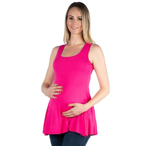 24seven Comfort Apparel Maternity Sleeveless Tunic Tank Top