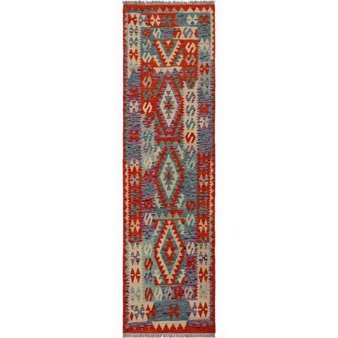 "Kilim Bryant Rust/Ivory Hand-Woven Wool Rug -2'10 x 6'7 - 2'10"" x 6'7"""