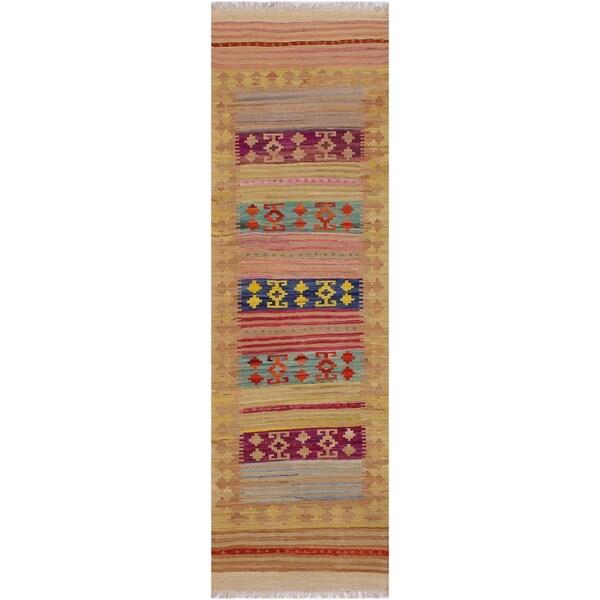 "kilim Bradley Gold/Red Hand-Woven Wool Runner- 3'2 x 9'7 - 3'2"" x 9'7"""