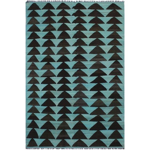 "Kilim Brande Teal/Black Hand-Woven Wool Rug -5'9 x 9'2 - 5'9"" x 9'2"""