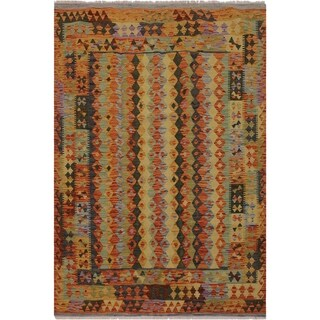 "Kilim Brain Rust/Blue Hand-Woven Wool Rug -4'10 x 6'5 - 4'10"" x 6'5"""
