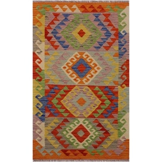 "Kilim Angella Orange/Ivory Hand-Woven Wool Rug -2'6 x 4'10 - 2'6"" x 4'10"""