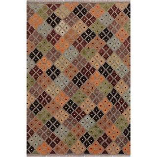 """Kilim Keisha Grey/Pink Hand-Woven Wool Rug -5'2 x 6'4 - 5'2"""" x 6'4"""""""