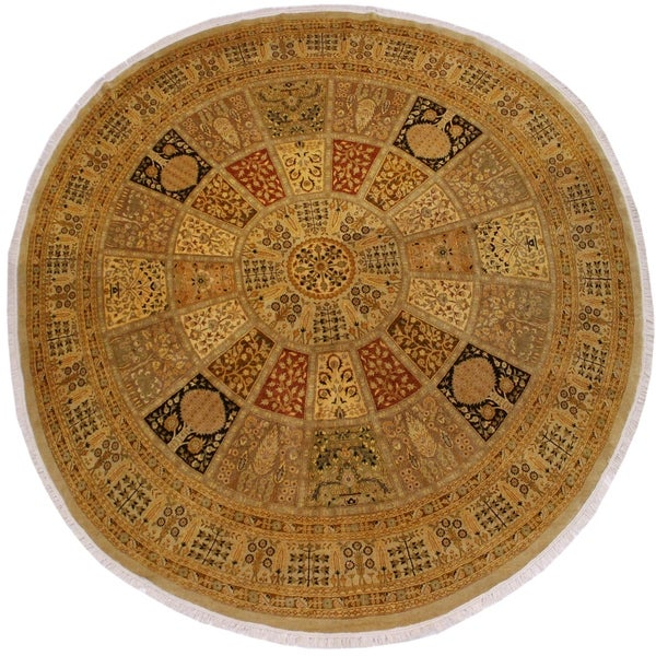 Arshs Fine Rugs Handmade Turkish Knotted Istanbul Awilda Gold/Rust Wool Round Rug - 9'1 x 9'3