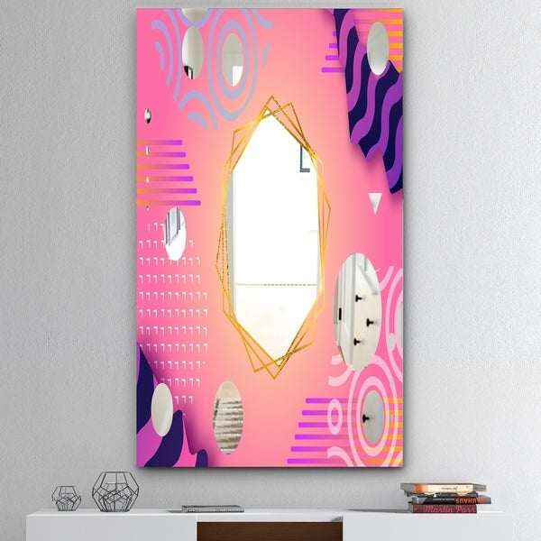Designart 'Spacy Dimensions 4' Mid-Century Mirror - Large Wall Mirror - Pink