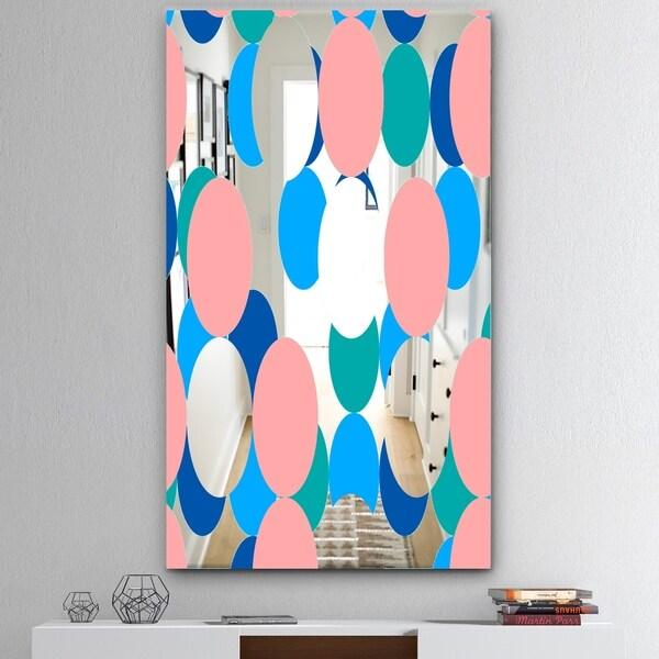 Designart 'Circular Rhythm 7' Mid-Century Mirror - Wall Mirror - Pink