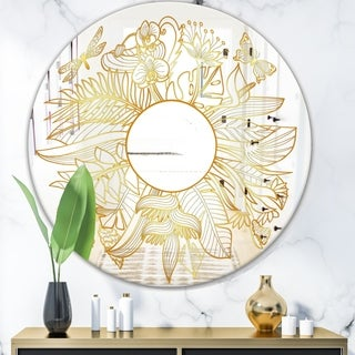 Designart 'Capital Gold Botanical Bliss 1' Glam Mirror - Round Wall Mirror