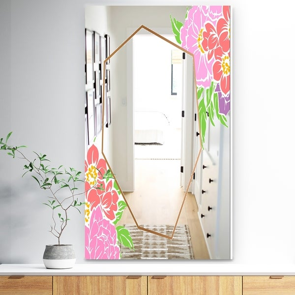 Designart 'Efflorescent Gold Simple 3' Traditional Mirror - Wall Mirror - Pink