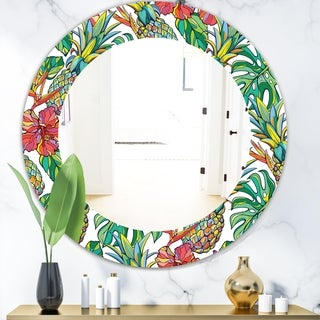 Designart 'Tropical Mood Foliage 4' Bohemian and Eclectic Mirror - Frameless Oval or Round Wall Mirror - Green