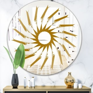 Designart 'Gold Sunburst I' Glam Mirror - Oval or Round Wall Mirror - Gold