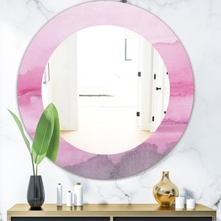Designart 'Pink Abstract Watercolor' Shabby Chic Mirror - Frameless Oval or Round Wall Mirror - Pink