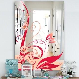 Designart 'Pink Flower Vibrant Vine' Cabin and Lodge Mirror - Wall Mirror - Multi