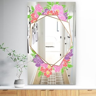 Designart 'Efflorescent Gold Simple 5' Traditional Mirror - Wall Mirror - Pink