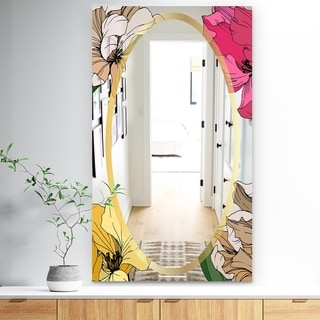 Designart 'Garland Sweet 23' Traditional Mirror - Wall Mirror - Red