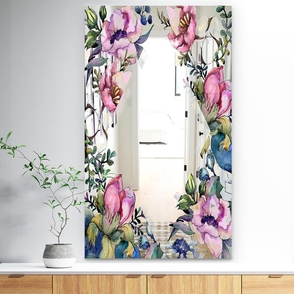 Designart 'Garland Sweet 25' Traditional Mirror - Large Mirror - Pink