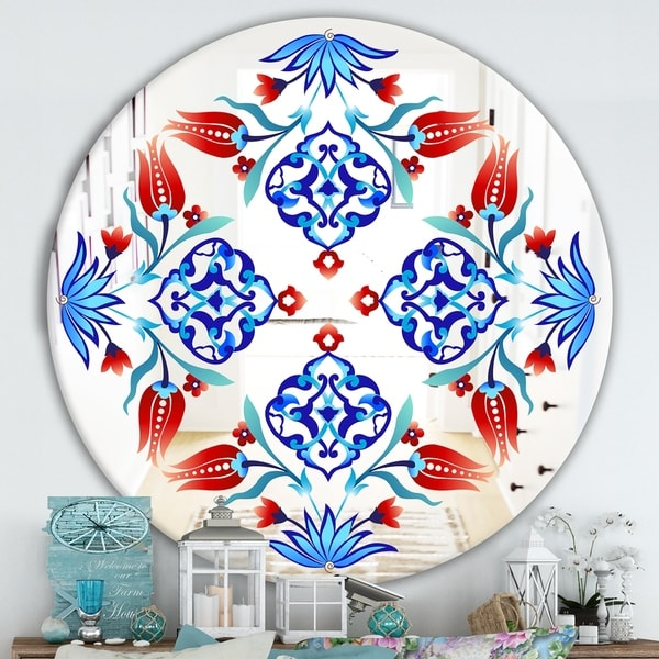 Designart 'Red Tulips and Blue Flowers' Traditional Mirror - Oval or Round Wall Mirror