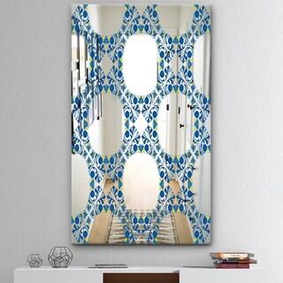 Designart 'Circular Rhythm 5' Mid-Century Mirror - Modern Print on Mirror - Blue