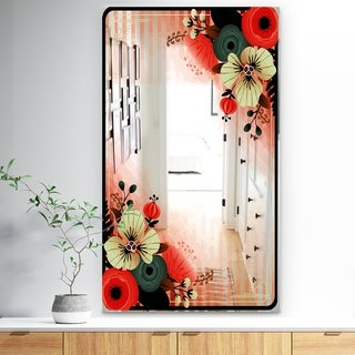 Designart 'Floral Poloroid' Traditional Mirror - Wall Mirror - Red
