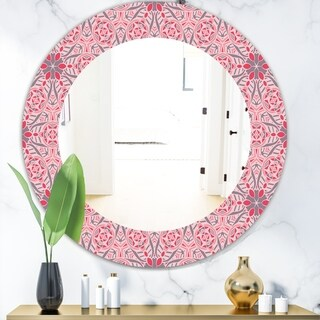 Designart 'Pink Spheres 5' Bohemian and Eclectic Mirror - Frameless Oval or Round Wall Mirror